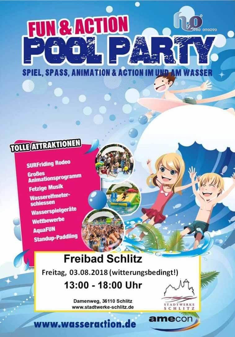 poolparty-2018_ferienwohung-schlitz.de | SURFriding Rodeo, Großes Animationsprogramm, Fetzige Musik, Wasserelfmeterschiessen, Wettbewerbe, AquaFUN, Standup-Paddling, u.v.m.