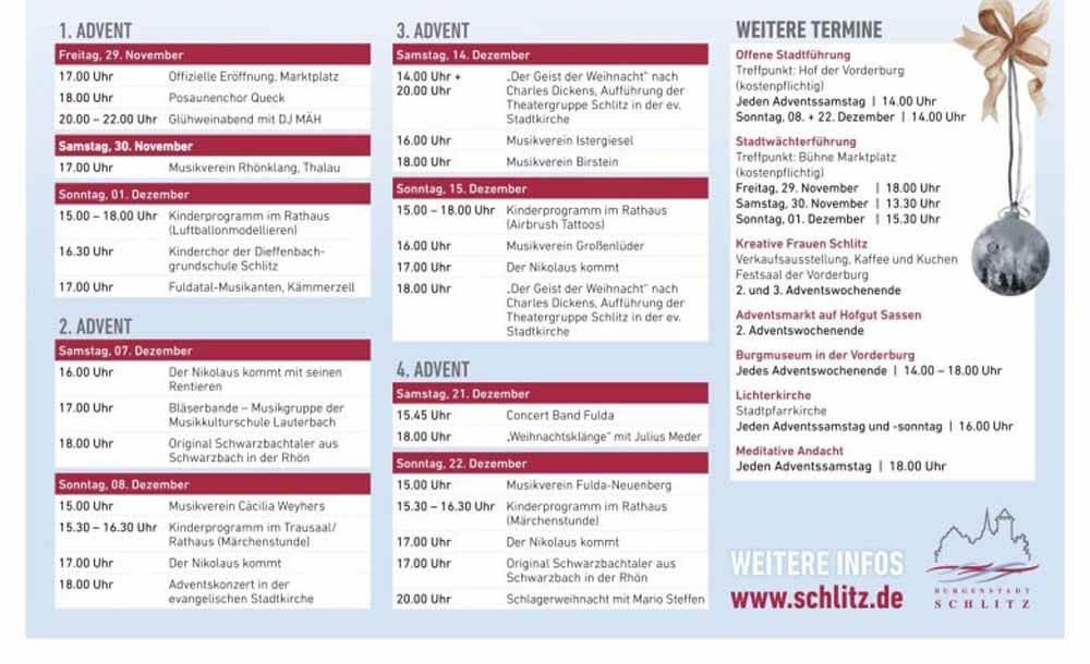 Programm+Termine für den Schlitzer Weihnachtsmarkt 2019_ferienwohnung-schlitz.de
